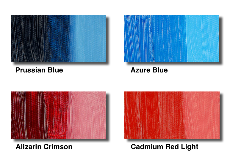 Two colors (red and blue), each one exampled by a transparent and a non transparent version